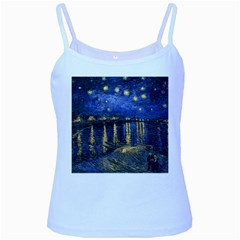 Vincent Van Gogh Starry Night Over The Rhone Baby Blue Spaghetti Tank
