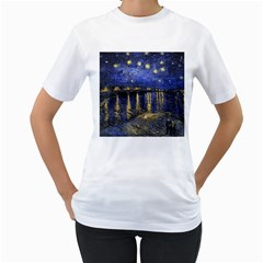 Vincent Van Gogh Starry Night Over The Rhone Womens  T Shirt (white)