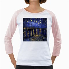 Vincent Van Gogh Starry Night Over The Rhone Women s Long Cap Sleeve T-Shirt (White)