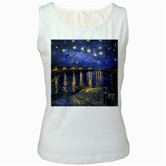 Vincent Van Gogh Starry Night Over The Rhone Womens  Tank Top (White)