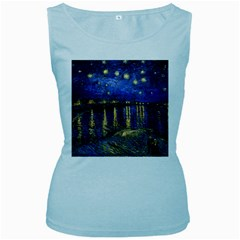 Vincent Van Gogh Starry Night Over The Rhone Womens  Tank Top (Baby Blue)