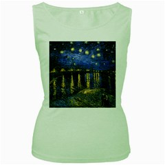 Vincent Van Gogh Starry Night Over The Rhone Womens  Tank Top (Green)
