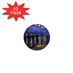 Vincent Van Gogh Starry Night Over The Rhone 1  Mini Button Magnet (10 pack)