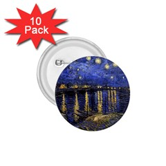Vincent Van Gogh Starry Night Over The Rhone 1.75  Button (10 pack)