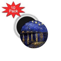 Vincent Van Gogh Starry Night Over The Rhone 1.75  Button Magnet (10 pack)