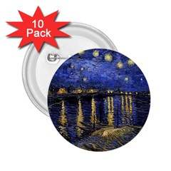 Vincent Van Gogh Starry Night Over The Rhone 2.25  Button (10 pack)