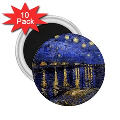 Vincent Van Gogh Starry Night Over The Rhone 2 25  Button Magnet (10 Pack)