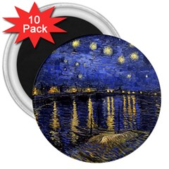 Vincent Van Gogh Starry Night Over The Rhone 3  Button Magnet (10 pack)