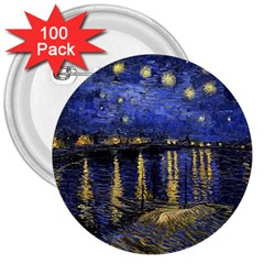Vincent Van Gogh Starry Night Over The Rhone 3  Button (100 pack)