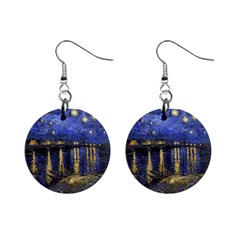 Vincent Van Gogh Starry Night Over The Rhone Mini Button Earrings