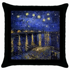 Vincent Van Gogh Starry Night Over The Rhone Black Throw Pillow Case