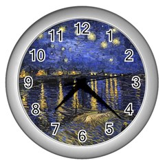 Vincent Van Gogh Starry Night Over The Rhone Wall Clock (Silver)