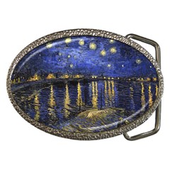 Vincent Van Gogh Starry Night Over The Rhone Belt Buckle (Oval)