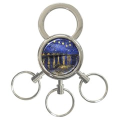 Vincent Van Gogh Starry Night Over The Rhone 3 Ring Key Chain