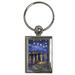 Vincent Van Gogh Starry Night Over The Rhone Key Chain (Rectangle)