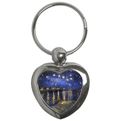 Vincent Van Gogh Starry Night Over The Rhone Key Chain (heart)