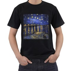 Vincent Van Gogh Starry Night Over The Rhone Mens' Two Sided T-shirt (Black)