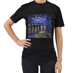 Vincent Van Gogh Starry Night Over The Rhone Womens' Two Sided T Shirt (black)