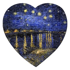 Vincent Van Gogh Starry Night Over The Rhone Jigsaw Puzzle (Heart)