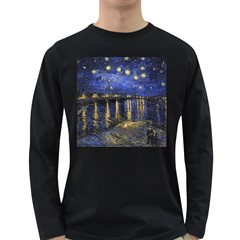 Vincent Van Gogh Starry Night Over The Rhone Mens' Long Sleeve T-shirt (Dark Colored)