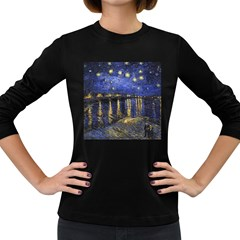 Vincent Van Gogh Starry Night Over The Rhone Womens' Long Sleeve T-shirt (Dark Colored)