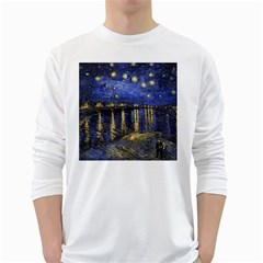 Vincent Van Gogh Starry Night Over The Rhone Mens' Long Sleeve T Shirt (white)