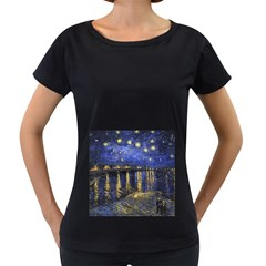 Vincent Van Gogh Starry Night Over The Rhone Womens' Maternity T Shirt (black)