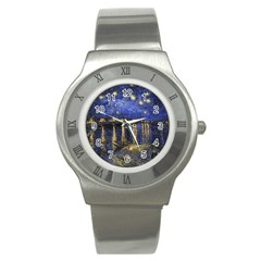 Vincent Van Gogh Starry Night Over The Rhone Stainless Steel Watch (Slim)