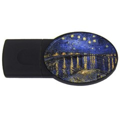 Vincent Van Gogh Starry Night Over The Rhone 4gb Usb Flash Drive (oval)