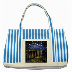Vincent Van Gogh Starry Night Over The Rhone Blue Striped Tote Bag