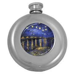 Vincent Van Gogh Starry Night Over The Rhone Hip Flask (Round)