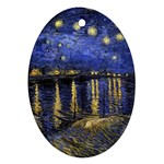 Vincent Van Gogh Starry Night Over The Rhone Oval Ornament (Two Sides) Front