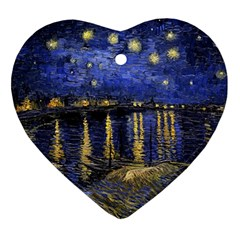 Vincent Van Gogh Starry Night Over The Rhone Heart Ornament (Two Sides)