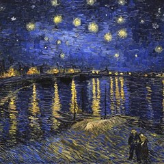 Vincent Van Gogh Starry Night Over The Rhone Canvas 20  x 20  (Unframed)