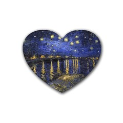 Vincent Van Gogh Starry Night Over The Rhone Drink Coasters 4 Pack (Heart)