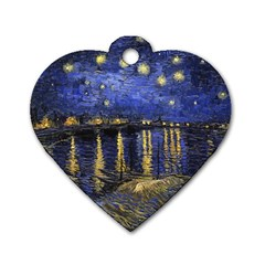 Vincent Van Gogh Starry Night Over The Rhone Dog Tag Heart (One Sided)