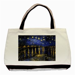 Vincent Van Gogh Starry Night Over The Rhone Twin-sided Black Tote Bag