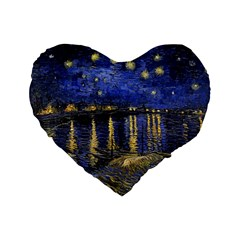 Vincent Van Gogh Starry Night Over The Rhone 16  Premium Heart Shape Cushion