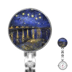 Vincent Van Gogh Starry Night Over The Rhone Stainless Steel Nurses Watch