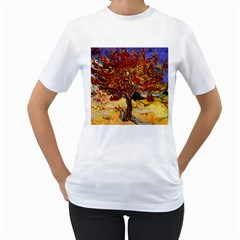Vincent Van Gogh Mulberry Tree Womens  T-shirt (White)