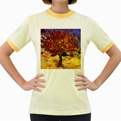 Vincent Van Gogh Mulberry Tree Womens  Ringer T-shirt (Colored)