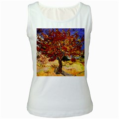 Vincent Van Gogh Mulberry Tree Womens  Tank Top (White)