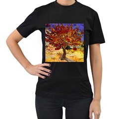 Vincent Van Gogh Mulberry Tree Womens' Two Sided T Shirt (black)