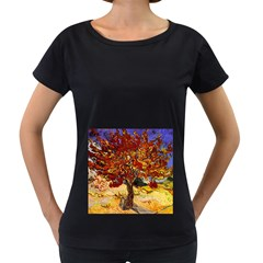 Vincent Van Gogh Mulberry Tree Womens' Maternity T-shirt (Black)