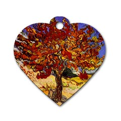 Vincent Van Gogh Mulberry Tree Dog Tag Heart (Two Sided)