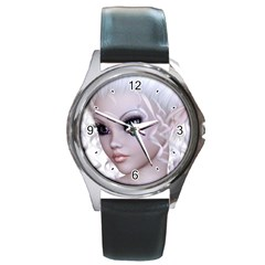 Fairy Elfin Elf Nymph Faerie Round Leather Watch (Silver Rim)
