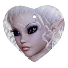 Fairy Elfin Elf Nymph Faerie Heart Ornament (Two Sides)