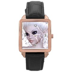 Fairy Elfin Elf Nymph Faerie Rose Gold Leather Watch