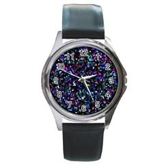 Glitter 1 Round Leather Watch (silver Rim)