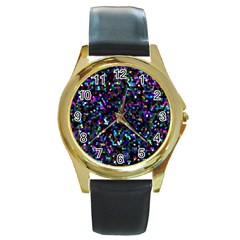 Glitter 1 Round Leather Watch (Gold Rim)